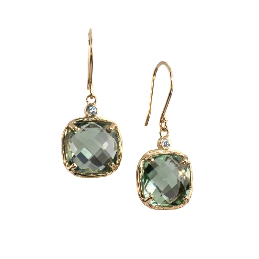 Riverbend Collection Yellow Gold Green Amethyst Earrings