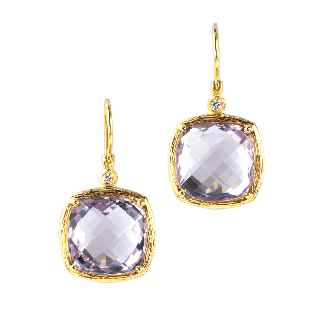 Riverbend Collection Yellow Gold Pink Amethyst Earrings