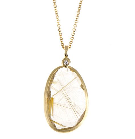 14K Yellow Gold Rutilated Quartz Pendant