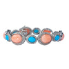 Estate Collection 18K Gold Diamond, Coral & Turquoise Bracelet
