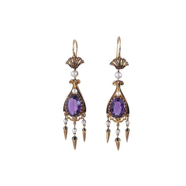 Estate Collection Antique Amethyst & Pearl Earrings