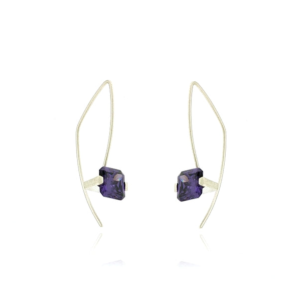Mysterium Collection Sterling Silver CZ Amethyst Earrings