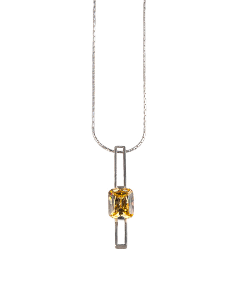 Mysterium Collection Sterling Silver Pendant Yellow Cubic Zirconia Pendant