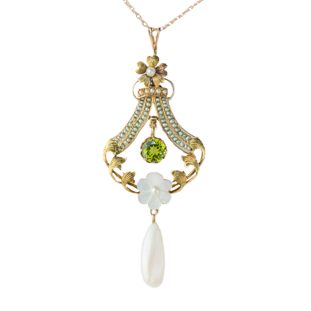 Estate Collection Antique Peridot & Pearl Pendant
