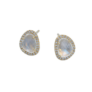 14K Yellow Gold Moonstone & Earrings