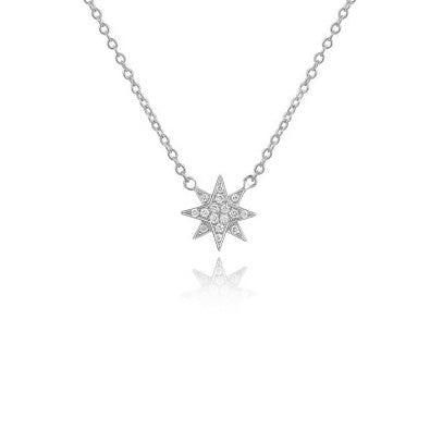 Majolie Collection White Gold Diamond Pave North Star Necklace