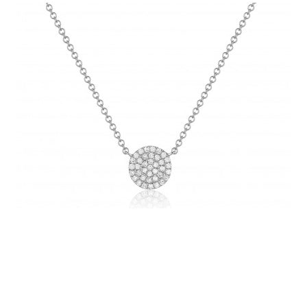 Majolie Collection White Gold Diamond Pave Disc Necklace (Med)