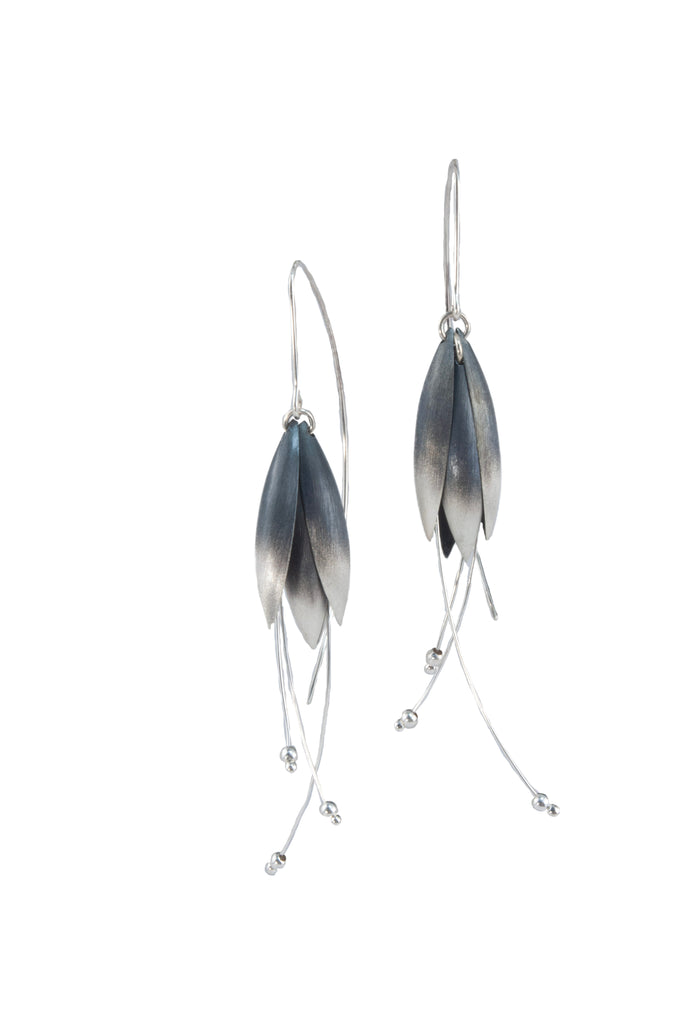 Mysterium Collection Oxidized Sterling Silver Tulip Petal Earrings