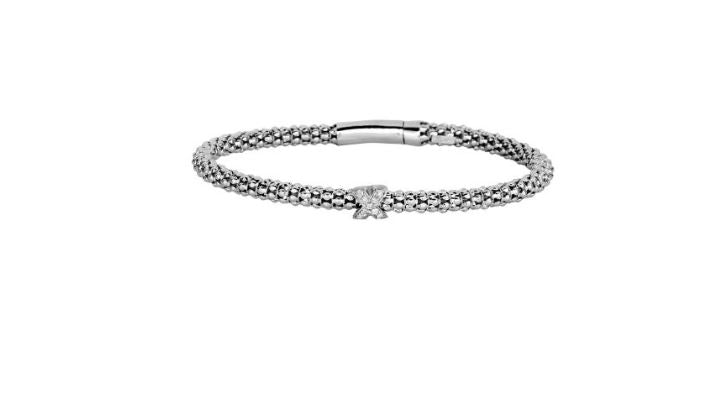 Phillip Gavriel Collection Sterling Silver Bangle with a Diamond X