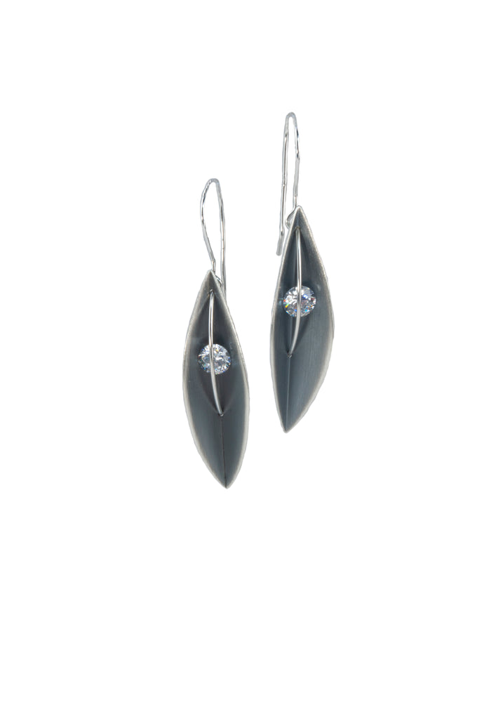 Mysterium Collection Oxidized Sterling Silver Leaf Earrings