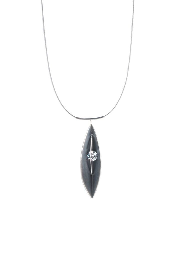 Mysterium Collection Oxidized Sterling Silver Leaf Pendant