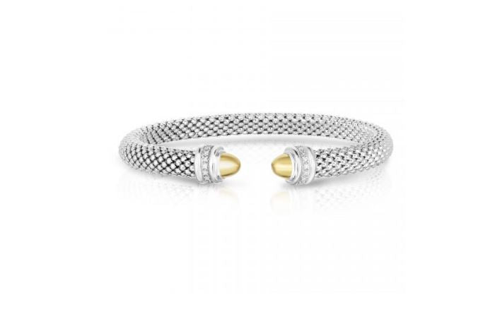 Phillip Gavriel Collection Sterling Silver Cuff with 18K Gold & Diamonds