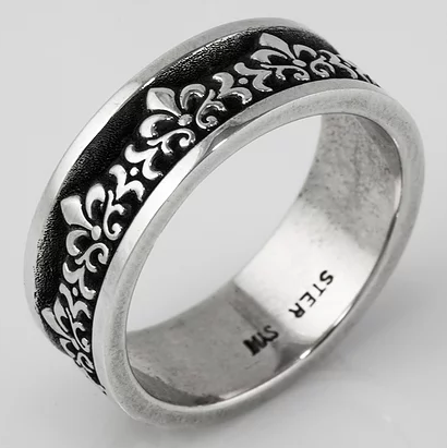 Tom Mathis Designs Sterling Silver Fleur de Lis Band