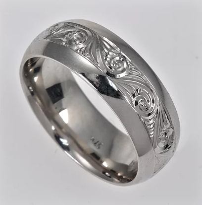 Tom Mathis Designs Palladium Hand-Carved Scroll Band