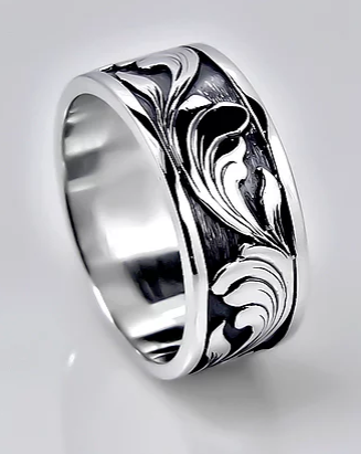 Tom Mathis Designs Sterling Silver Scroll Band