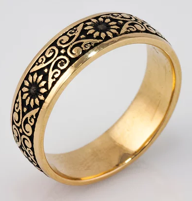 Tom Mathis Designs 14K Yellow Gold Floral Band