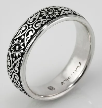 Tom Mathis Designs Platinum Silver Floral Band