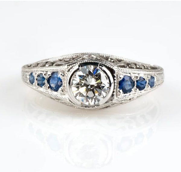 Tom Mathis Designs 0.65CT Diamond & Sapphire Ring