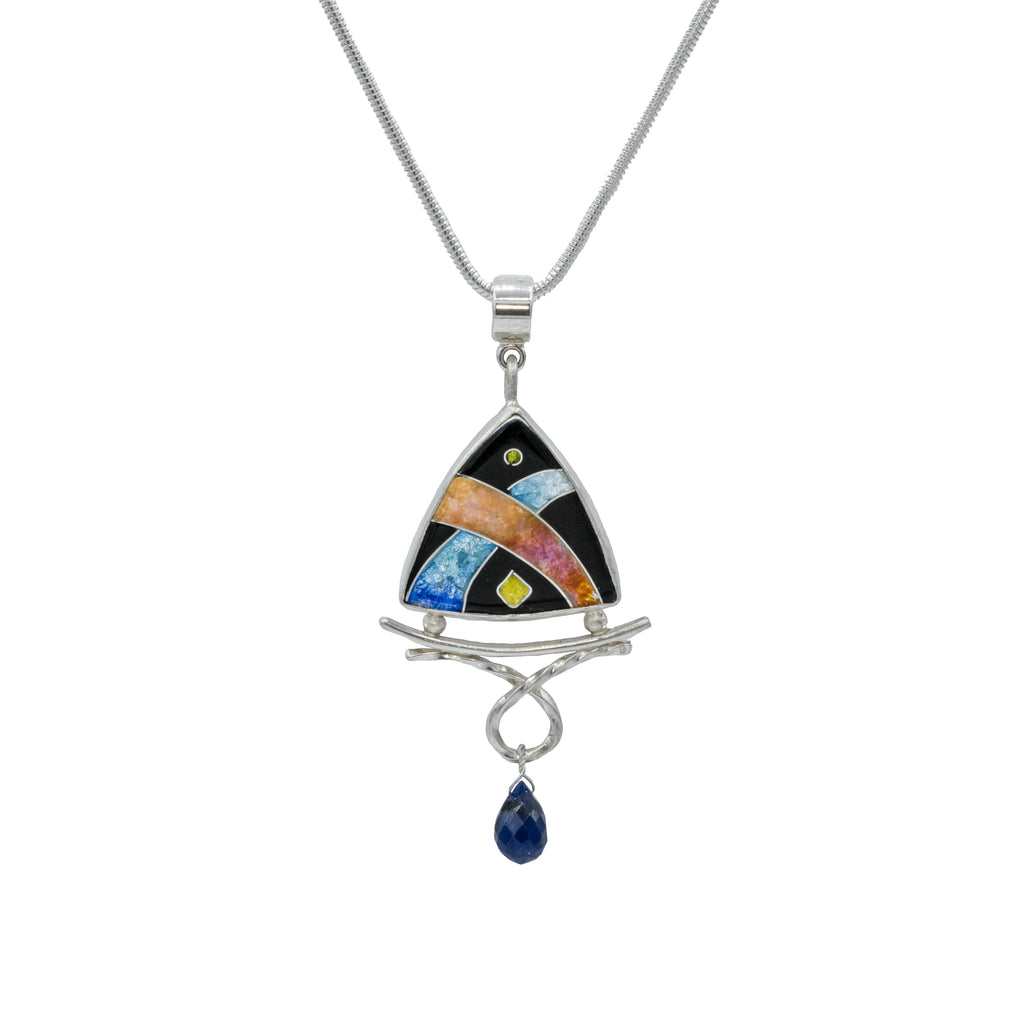 Sterling Silver Cloisonne Pendant with Sapphire