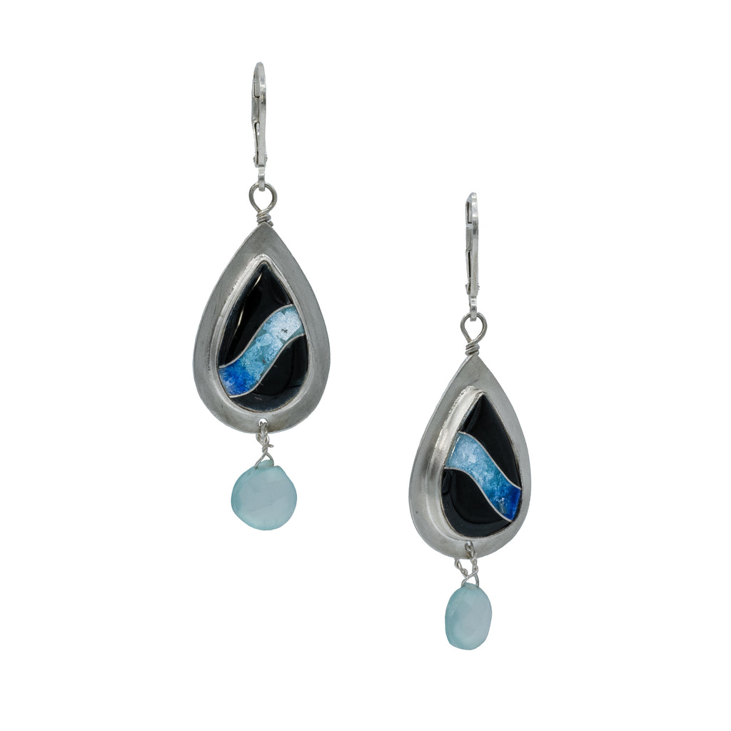 Sterling Silver Cloisonne Earrings with Apatite