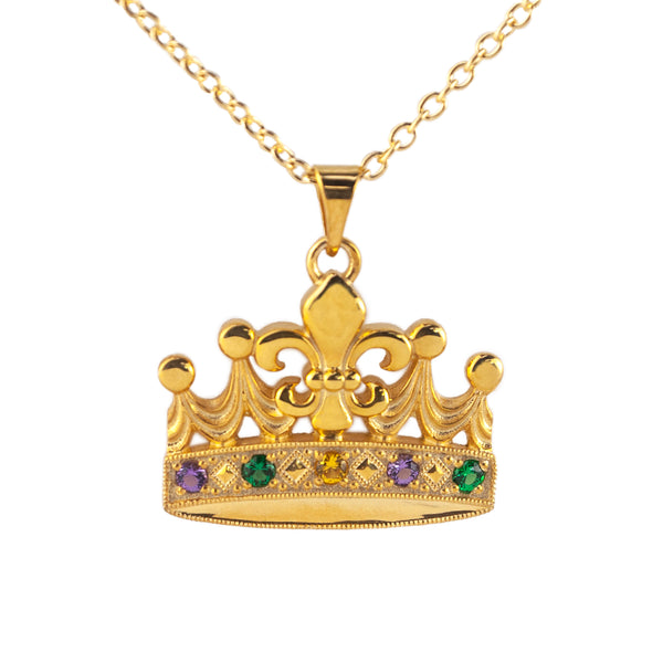 Tom Mathis Designs Fleur de Lis Mardi Gras Crown Pendant