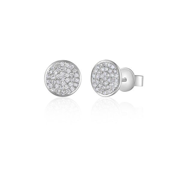 Majolie Collection White Gold Diamond Disc Earrings (Med)