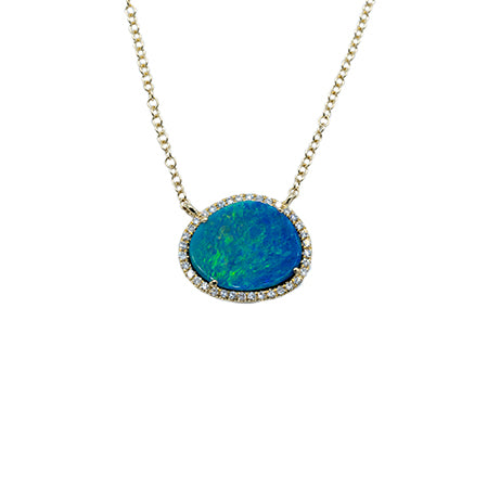 Majolie Collection Yellow Gold Opal & Diamond Necklace