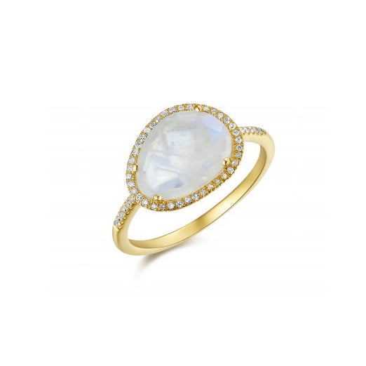 Majolie Collection Yellow Gold Moonstone & Diamond Halo Ring
