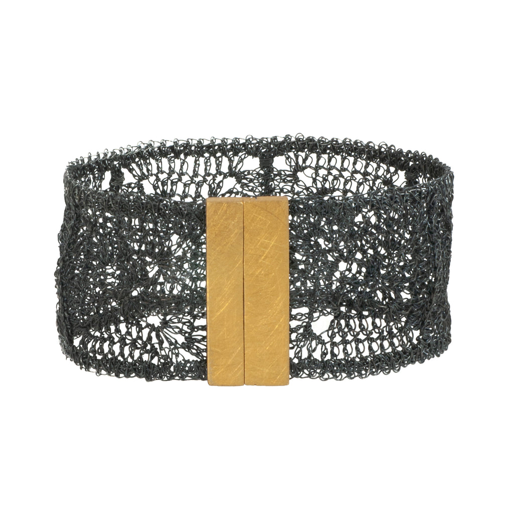 Mysterium Collection Black and Gold Wide Crochet Bracelet