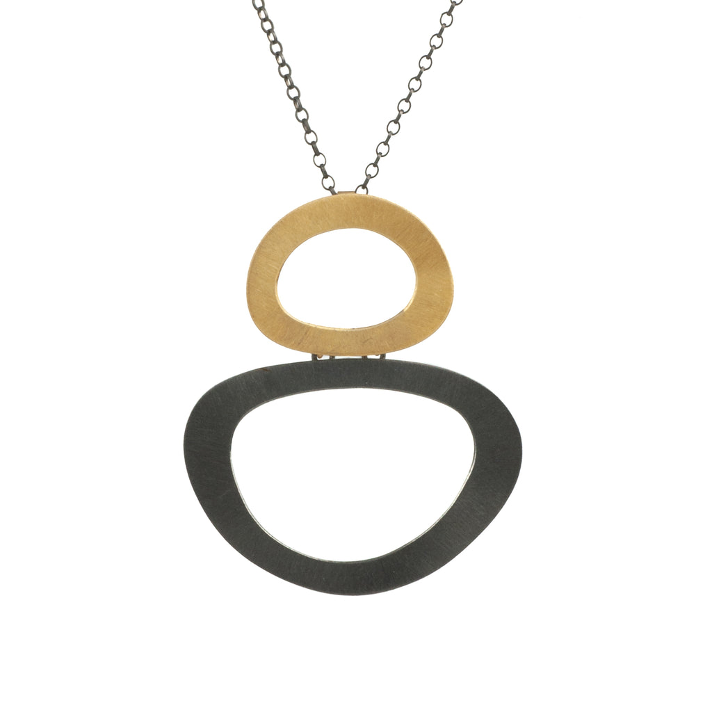 Mysterium Collection Black and Gold Large Cut-Out Link Necklace