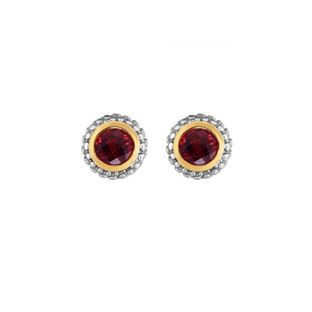 Phillip Gavriel Collection Sterling Silver & 18K Gold Garnet Earrings