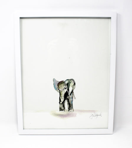 Baby Elephant Art Print 11x14in, Nursery Decor, Wall Art, Baby Animals