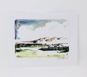 Mountain Landscape 11x14 Print- Simple Impressionistic Watercolor Print, Home Decor, Wall Art