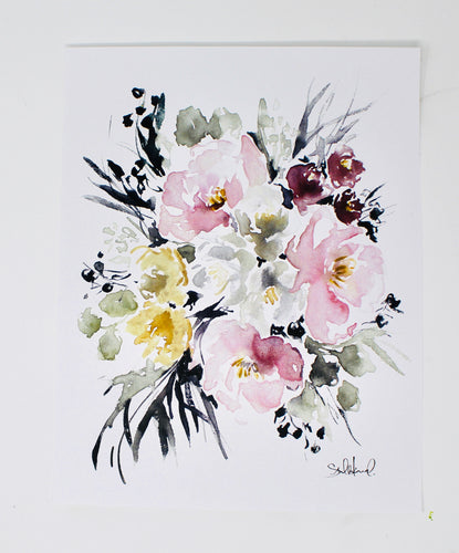 Posy Collection- Light Simple Floral Print - Home Decor, Wall Art, 11x14