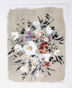 Posy Collection- Spring Wildflower Floral- Beige Background, Fresh, Simple Artwork