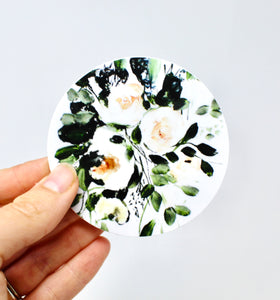 Floral Sticker- Durable, Vinyl Weatherproof 3x3 Sticker