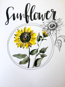 Sunflower Art Print 11x14in! Floral Art, Home Decor, Floral Collection