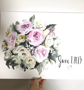 Custom Bridal Bouquet Painting, 11x14, Custom Art, Home Decor, Wedding Gift, Floral Art