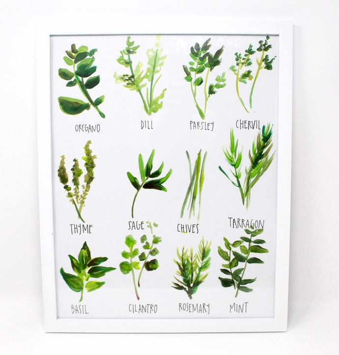 All about Herbs! Art Print- 11x14in, Food Art, Home Decor, Kitchen Decor, Simple Design