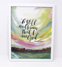 Load image into Gallery viewer, Be Still and Know Art Print -11x14in, Quote Art, Simple Design, Landscape Artwork