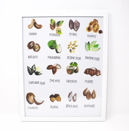Go Nuts! Art Print- 11x14in, Food Art, Kitchen Decor, Wall Art