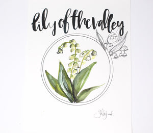 Lily Of The Valley Art Print- 11x14in, Simple Design, Floral Artwork, Home Decor, Wall Art