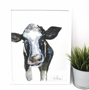 Cow Art Print- 11x14, Animal Art, Home Decor, Farmhouse, Cute Cow, Wall Art