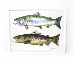 11x14 Outdoorsy Wall Art Print of a Rainbow Trout and Brown Trout