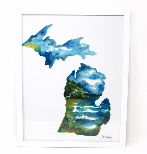 Lake Michigan Art Print- 11x14in, Watercolor Artwork, Home Decor, Michigan Art, Coastal Wall Art