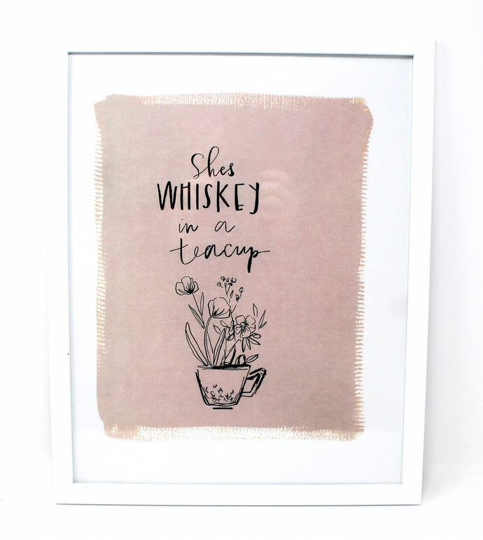 She's Whiskey In A Teacup Art Print! 11x14 Print, Simple Design, Kids Room Art
