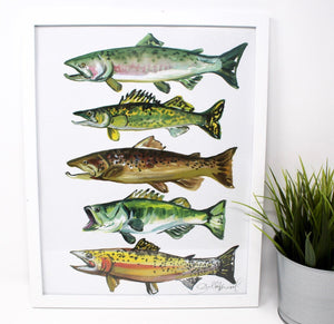 Fish Art Print- 11x14, Simple Outdoor Artwork, Animal Art, Fish Painting Print