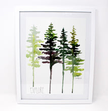 Load image into Gallery viewer, Watercolor Pine Tree Art Print, Wall Decor, Trees Wall Art, 8x10 Explore Print