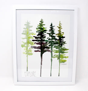 Watercolor Pine Tree Art Print, Wall Decor, Trees Wall Art, 8x10 Explore Print