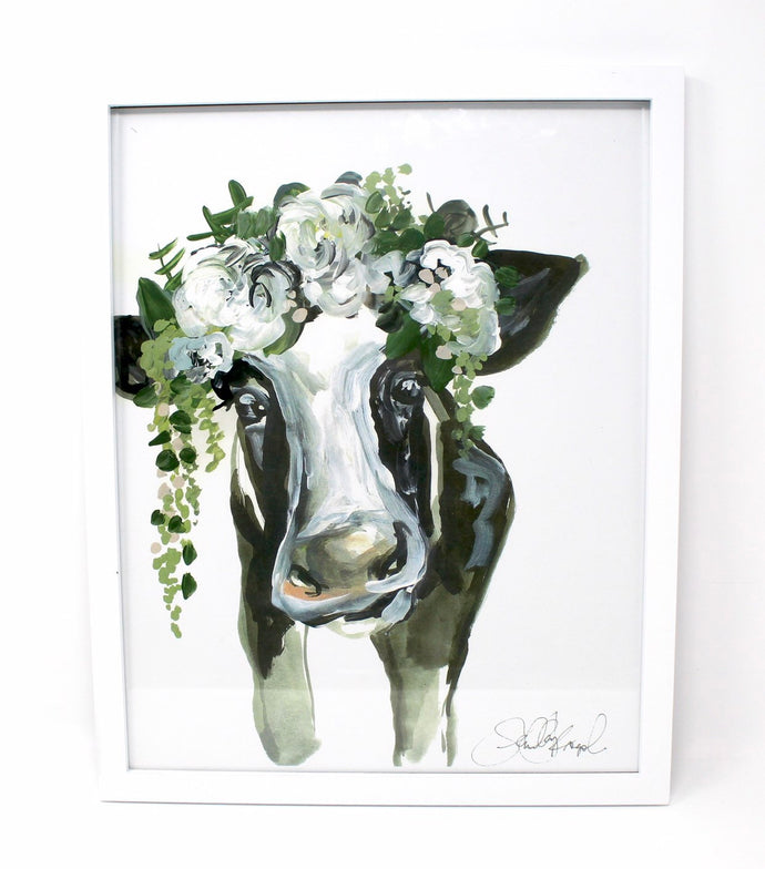 Floral Cow Art Print! 11x14in, Animal Art, Farm Animals, Floral Artwork, Home Decor